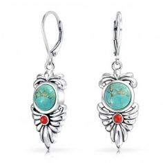 Bling Jewelry 925 Silver Turquoise Simulated Carnelian Resin Leaf Dangle Earring