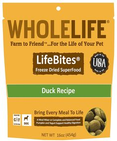 Whole Life Pet LifeBites Duck Recipe Freeze Dried Food for Dogs, 16 oz ** · Grain  FreeFood ...