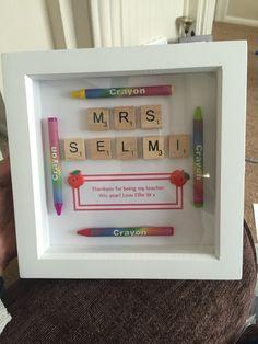 Trendy Baby Gifts Cricut For Kids 57 Ideas Scrabble Letter Crafts, Scrabble Tile Crafts, Scrabble Frame, Scrabble Art, Handmade Teacher Gifts, Teacher Christmas Gifts, Box Frame Art, Diy Cadeau, Presents For Teachers