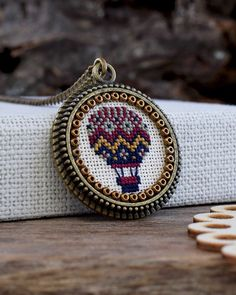 This item is unavailable Silk Ribbon Embroidery, Hand Embroidery, Cross Stitch Designs, Cross Stitch Patterns, Cross Stitching, Cross Stitch Embroidery, Cross Pendant, Hama Bead, Air Balloon