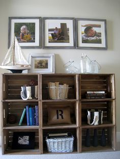 Easy Crate Bookshelves by The Lilypad Cottage