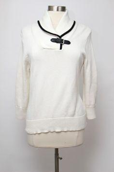 Chaps Beige with Black Trim Cotton Front Buckle Long Sleeve V-Neck Sweater Sz L #Chaps #VNeck