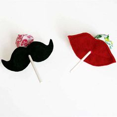 HOW MUCH FUN FOR VALENTINE'S!  Mustache Party  Mustache Lollipop Holder  Felt  by AnnsCraftHouse, $5.00