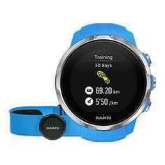 Suunto Spartan Sport HR GPS-Uhr, für Multisport-Athleten, Unisex, 10 Std. Akkulaufzeit, Wasserdicht, Herzfrequenzmesser, Brustgurt, Farbtouchscreen, blau, SS022652000