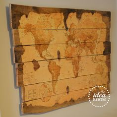 DIY Pallet Map with instructions. She got her giant map from amazon for $1. Say what?!