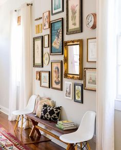 Gallery wall inspiration (Note: Use monochromatic frames to make the wall feel more collected vs. cluttered).