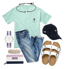 """Feel Better, Patti!! "" by sunglamourandpreppiness ❤ liked on Polyvore featuring Fraternity, Birkenstock, J.Crew, Daniel Wellington and Vineyard Vines"