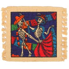"Day of the Dead Cotton Stencil Collection   Our Day of the Dead Cotton Stencil Collection incorporates unique and lively Mexican Folklore Designs with bright festive colors to add a  one-of-a-kind look to your home  Cotton Stencil Coasters SOLD IN SETS OF 6  APX. 6"" X 6""   Stenciled on 100% Cotton  Imported"