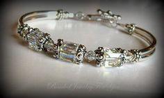 Wedding Jewelry - Antiqued Pewter Swarovski Crystal AB Bridesmaid Bangle Bracelet on Etsy, $28.99