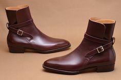 Handmade Men Burgunday Jodhpurs Boots, Men Ankle Boots, Men Leather Boots - Boots