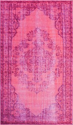 Remade Distressed Overdyed Pink Rug