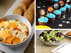 "I wont be making cupcakes, since there will be plenty of cake.  But I love the idea of start-shaped cheese and crackers titled "" shooting stars and flying saucers"" and grapes ""alien heads"".  This is from www.goodlifeeats.com"