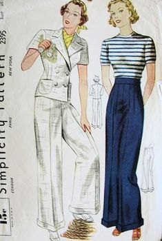 Hottest Images sewing pants wide Tips 1930s Fashion, Vintage Fashion, Vintage Style, 1930s Style, Ladies Fashion, Vintage Sewing Patterns, Clothing Patterns, Barbie Patterns, Dress Patterns