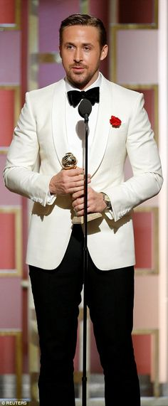 Emotional: Ryan Gosling and Emma Stone gave emotional speeches as they enjoyed big wins for La La Land at the 74th annual Golden Globes on Sunday night