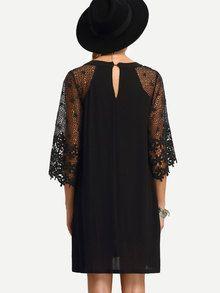 robe Bi-matière en crochet -French SheIn(Sheinside)