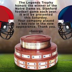 This Legends Trophy Is Awarded Each Year To The Winner Of The #NotreDame Vs. #Stanford #CollegeFootball Game!