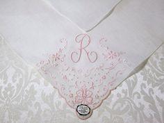 "Madeira ""R"" Monogrammed Handkerchief"