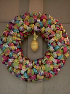 Easter Ribbon Wreath...i have TONS of scrap ribbon!