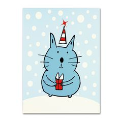 Christmas Snow Cat by Carla Martell Graphic Art Gallery Wrapped on Canvas