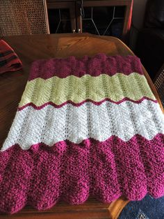 Unique Hand Knitted Pink White Yellow Ripple Baby Blanket £10.00