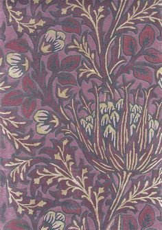 Artichoke Rug A thick pile rug with silky highlights featuring stylised artichoke plants in yellow, lilac and claret.