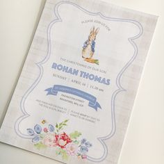 // c h r i s t e n i n g // bespoke Peter Rabbit themed christening invitation for my fave little man Christening Invitations, Birthday Invitations, Wedding Invitations, Boy Christening, Boy Baptism, 2nd Birthday, Birthday Ideas, Peter Rabbit Party, Party Central