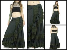 Long gypsy skirt with lace tribal dance tribal by BaliWoodShop