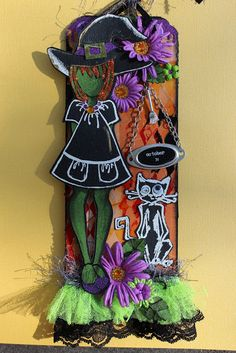 Juile Nutting Prima doll stamp with handmade witch hat and Tim Hotz Crazy Cats…