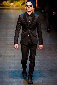 Dolce & Gabbana | Spring 2014 Menswear Collection - monochromatic tux