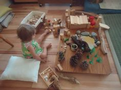 """This shows a toddler & loose parts at 'ABC playcenter' (from Hilda von Hase), but the set-up would work with older children too... image shared by let the children play ("""",)"""