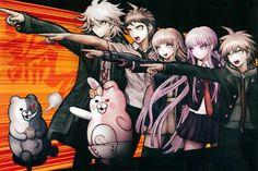 Nagei, Kirigiri, Nanami, Hajime, Komaeda, Monokuma, & Monokumi. Dangan Ronpa and Super Dangan Ronpa 2