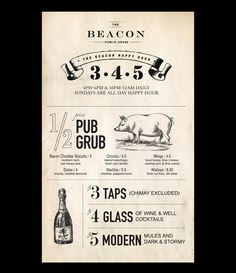 Happy Hour Poster Design for The Beacon Public House