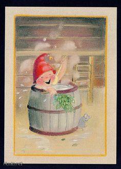 Gnome bathing by Kaarina Toivanen Christmas Pictures, Christmas Fun, Christmas Cards, Xmas, Illustrations, Illustration Art, Pet Mice, Artists For Kids, Christmas Illustration