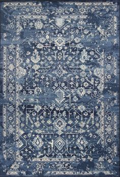 KAS Rugs Bob Mackie Home Vintage 1310 Azure Blue Marrakesh Machine-Woven Polypropelene Frisee Yarn x