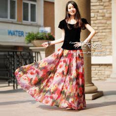 2013 autum summer chiffon maxi long skirt floral print beach skirt elastic waist plus size women clothing US $56.30