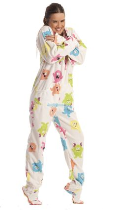 Nothing scary about these cute and lovable little monsters! This is a soft and cuddly fleece that feels like a warm hug when wearing these one piece footie pajamas. Featuring a  hoodie and front pocket, this limited edition print won't last!  $49.99