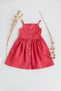 Soft timeless dress that can be worn over and over again with a button down front and circle skirt. Length from top of bodice to skirt hem Waist 9 Little Girl Summer Dresses, Red Summer Dresses, Little Girls, Girls Dresses, Future Clothes, Cute Tank Tops, Up Styles, Summer Looks, Dress Making