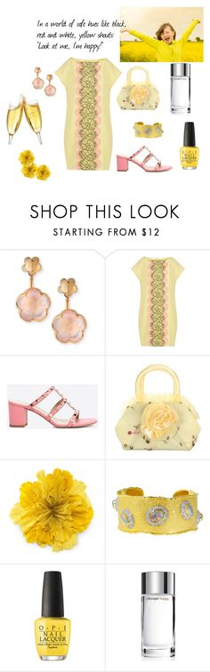"""""""Yellow shouts; """"Look at me, I'm happy!"""""""" by maryg0304 ❤ liked on Polyvore featuring Pasquale Bruni, Boutique Moschino, Valentino, Gucci, Victor Velyan, OPI and Clinique"""