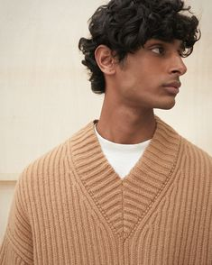 The Vince sweater is a stylish twist on a slouchy fit. The oversized nature of the Vince makes for a cozier and softer appearance, in a versatile soft wool blend in a cool camel color. Body Measurements, Wool Blend, Camel, Women Wear, Men Sweater, V Neck, Knitting, Stylish, Sweaters