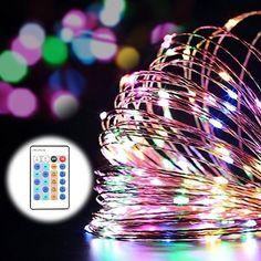 LE Micro 20LEDs Drahtlichterkette silberne dünne Kupfer Lichterkette 3.3ft/1M, Warmweiß Batterie transparentes, Weihnachtsbeleuchtung Sternen Lichterketten, Micro Lichterkette 4er Pack