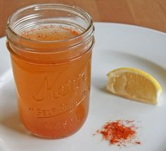 ACV Cold Remedy  1/4 cup water 1/4 cup unfiltered apple cider vinegar 1 tablespoon honey 1 teaspoon cayenne pepper 1 wedge lemon