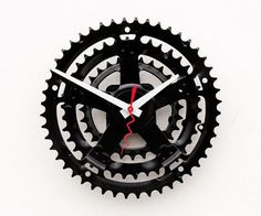 repurposed bicycle crank clock