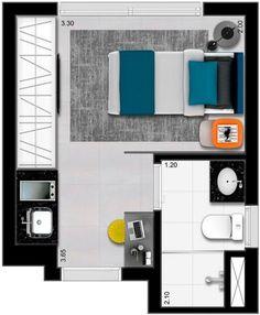 Imagem: Reprodução Studio Apartment Floor Plans, Studio Floor Plans, Studio Apartment Layout, Small Apartment Design, Small Space Interior Design, Small Apartments, House Floor Plans, Layouts Casa, Bedroom Layouts