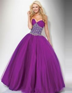 (NO.038352 )2011 Style Ball Gown Sweetheart  Rhinestone Sleeveless Floor-length Tulle  Grape Prom Dress / Evening Dress