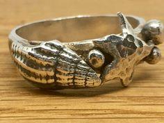 Handmade, Silver Sea Creature Ring, size Z