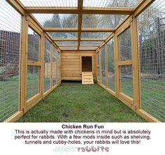 Originally intended as a chicken run, this run and house is perfect for rabbits. With a few modifications inside such as shelving, tunnels and cubby-holes, rabbits will love it!