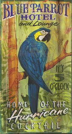 Found it at Wayfair - Blue Parrot Vintage Advertisement Plaque Beach Cottage Decor, Coastal Decor, Coastal Style, Coastal Living, Vintage Beach Signs, Timberwolf, Tropical Home Decor, Old Signs, How To Antique Wood