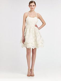 Alice + Olivia Floral Lace Puff Dress