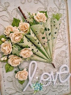for the florist wall ? Hobbies And Crafts, Diy And Crafts, Paper Crafts, Diy Flowers, Paper Flowers, Umbrella Cards, Shabby Chic Cards, Paper Doilies, Pretty Cards