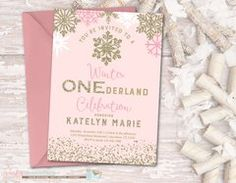 Winter Birthday Invitation, Winter ONEderland Birthday Invitation, Snowflake Birthday Invitation, Winter Onderland, Pink and Gold